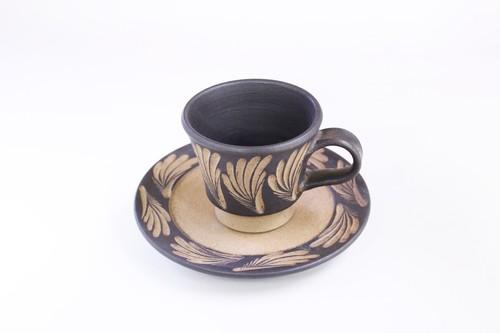 【受注生産対応】クバ結紋 コーヒーカップセット 黒