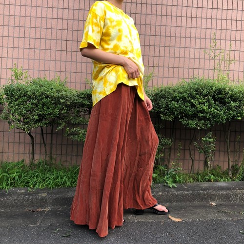 Terracotta fake suède long skirt