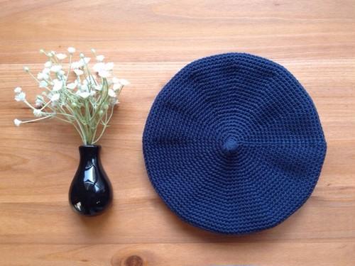 【S・ネイビー】コットンベレー帽