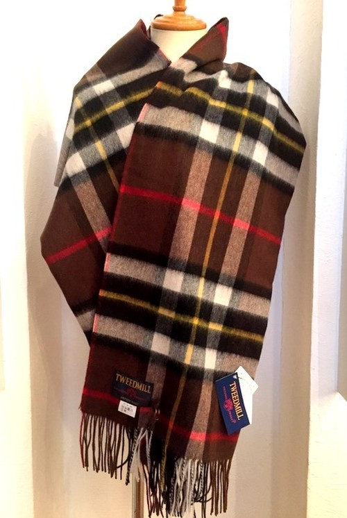 【TWEEDMILL】Lambswool Blanket Stole with Pin(Knee Rug) Tartan Conker Dress Thompson