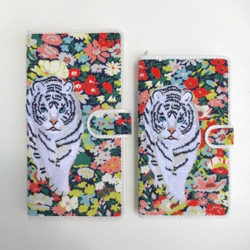 【Lサイズ】ホワイトタイガー手帳型マルチスマホケース レッド