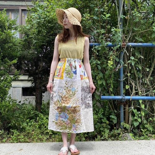 Vintage fabric patchwork remake skirt