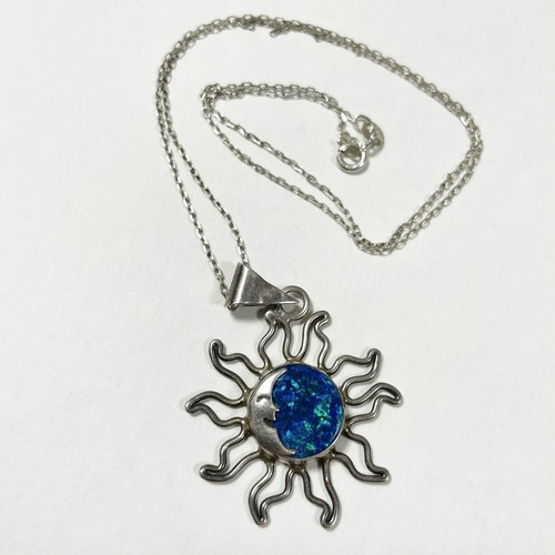 Vintage 925 Silver Blue Opal Sun Moon Pendant Necklace Made In Mexico