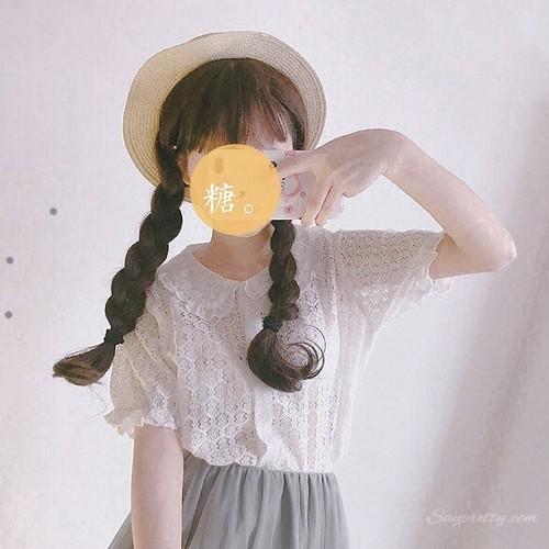 【トップス】スウィートレース韓国系カジュアル春夏透かし彫り無地折り襟半袖シャツ