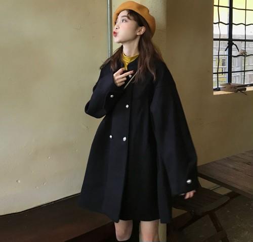 アウター コート ショート丈 無地 長袖 ブラック ビッグシルエット オーバーサイズ かわいい ダブルボタン 秋冬 レトロ レディース フリーサイズ