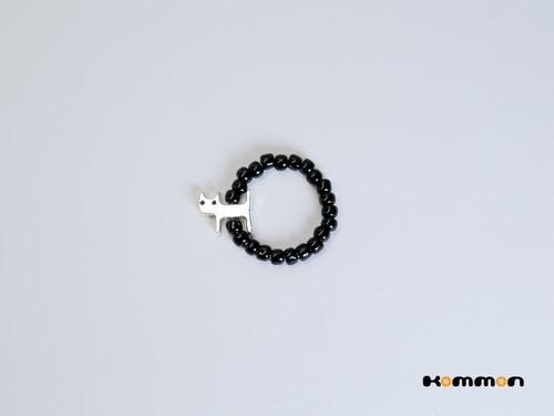 Kommon猫黒(小)ゆびわ