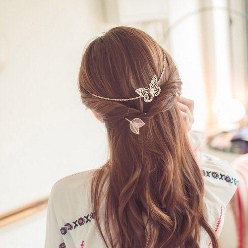 ゴールド バタフライ 蝶 バックカチューシャ カチューシャ  ヘアアクセサリー 髪留め 髪飾り  WA kpab027