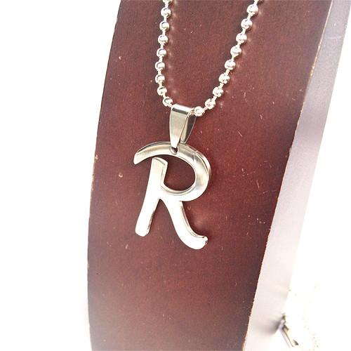 R アルファベット ボールチェーン チョーカー ネックレス 銀 シルバー SILVER 1912