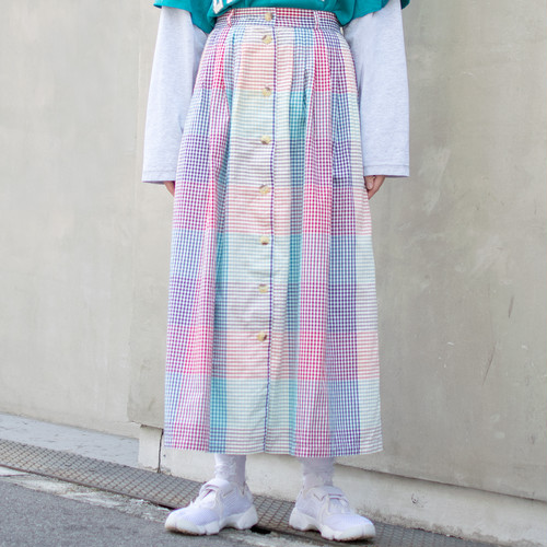 """Gingham"" Plaid Skirt"