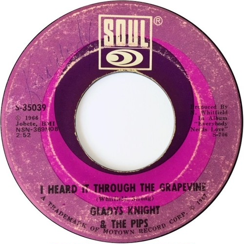 Gladys Knight & The Pips ‎– I Heard It Through The Grapevine / It's Time To Go Now