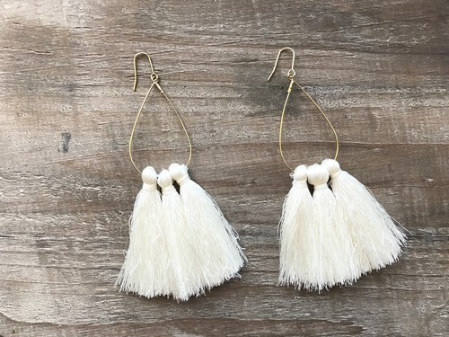 Tassel tear drop hoops