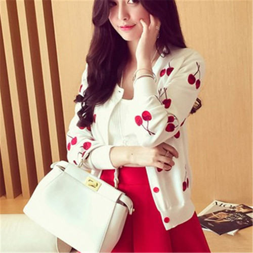 spring women Sweater cherry Embroidery Pattern all-match lady style jacket coat Long Sleeve Short Knitting Cardigan 2595