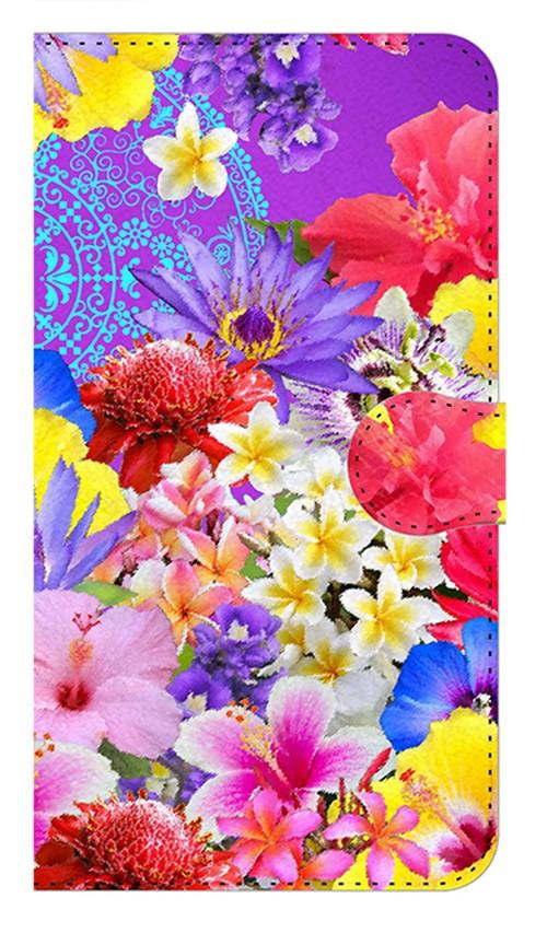 【鏡付き Mサイズ】Hawaiian Flowers Garden ハワイアンフラワーズガーデン ー Blue Violet ブルーバイオレット 手帳型スマホケース