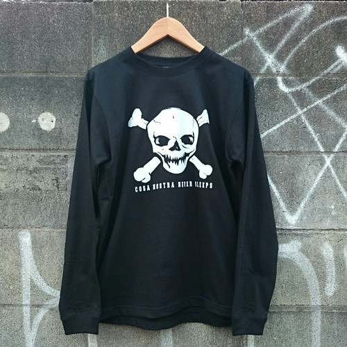 CROSS BONE SKULL 5,6onz LONG SLEEVE T-shirts col.blk