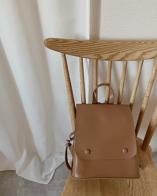 【beige】eco Leather rucksack
