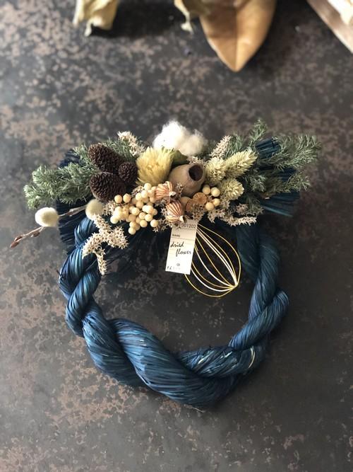 [1点物]ブルーのしめ縄飾り A