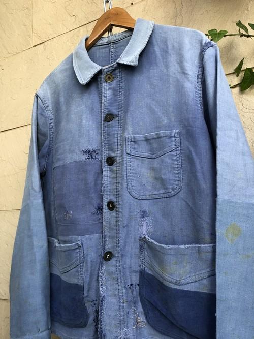 1950s French blue moleskin patchwork jacket