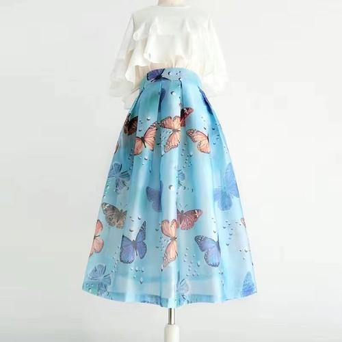 【set】女子力アップセットアップバタフライプリントスカート+フリルトップス