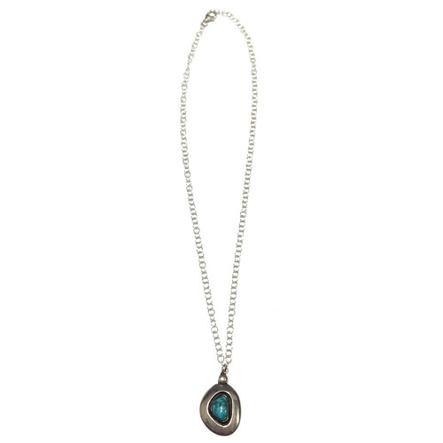 Navajo Vintage Sterling Silver Turquoise Drop Necklace