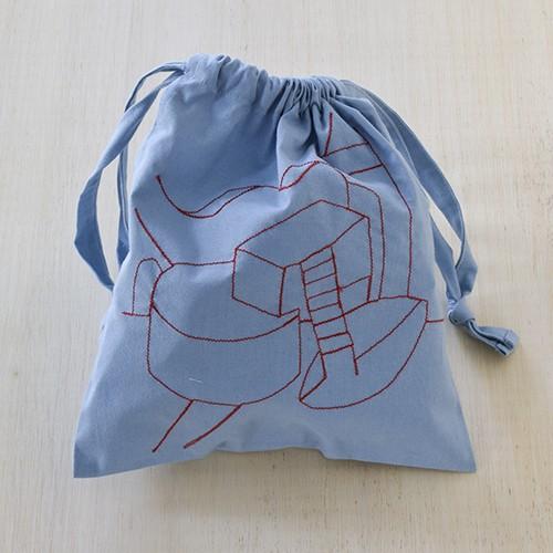 刺繍巾着 Mサイズ