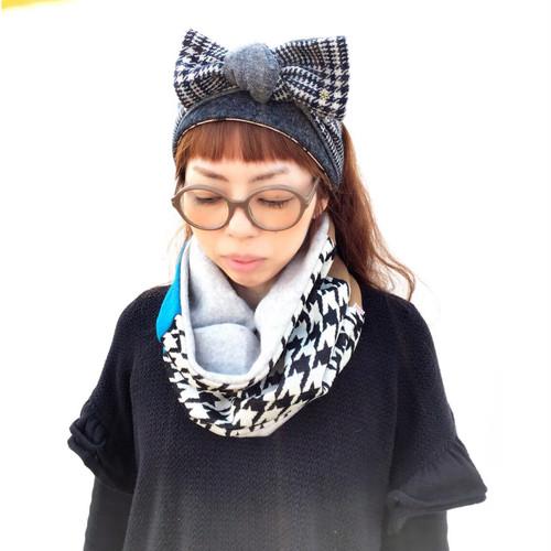 マスタード×グレー☆tokotoko☆あったかウールスヌード