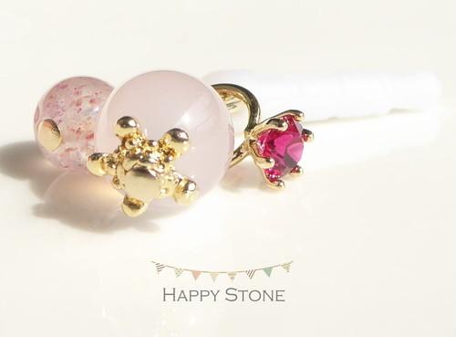 穏やかな愛情*2つのピンクとルビーリングのイヤホンジャック/ストラップ変更可