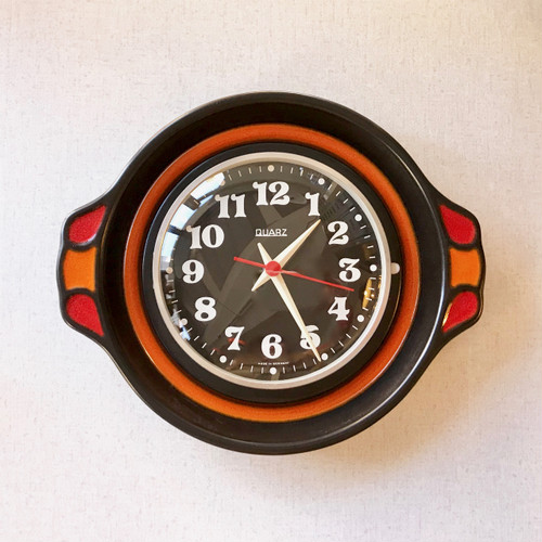 Vintage Pottery Wall Clock W.Germany 70's ドイツ