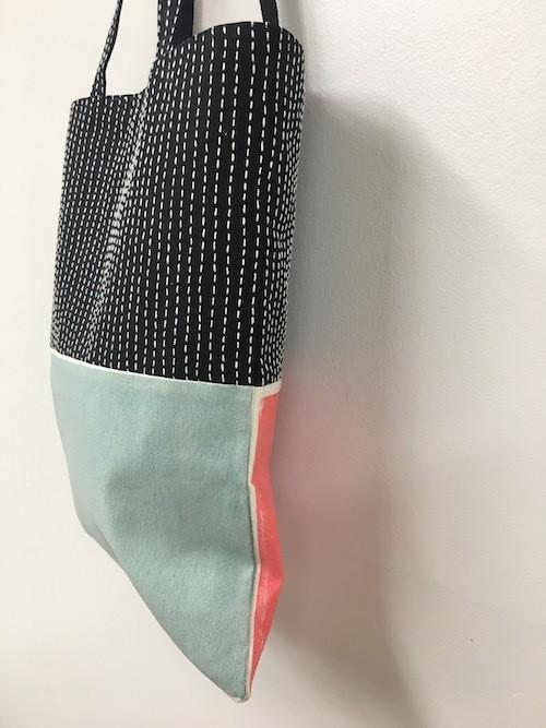 【予約商品 9/28- 10/8 】sashiko tote bag / neon orange × moss green