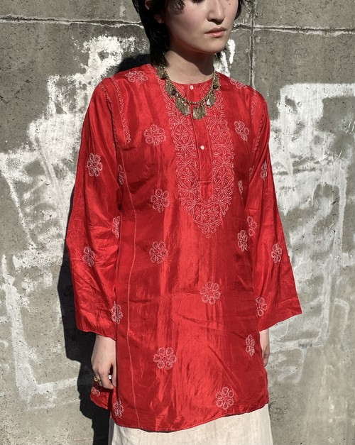 Vintage Hand Embroidered Pullover Shirt Made Of Hand Woven Silk