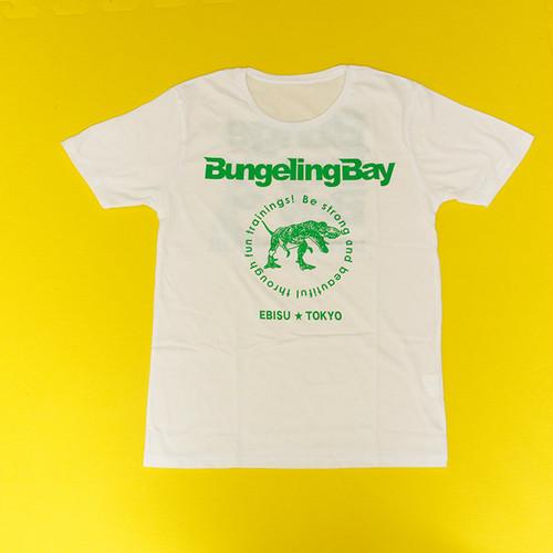 BungelingBay Tシャツ(ホワイト×緑字バックプリントLove&Humor)