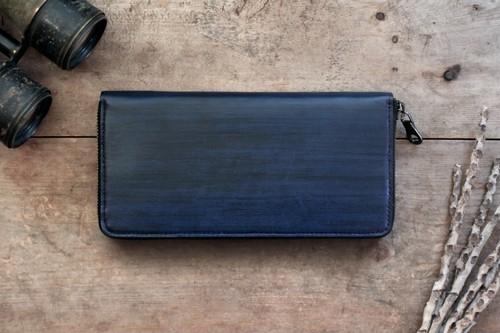 藍染革[migaki] ×オイルレザー ラウンドファスナー長財布【墨縞】