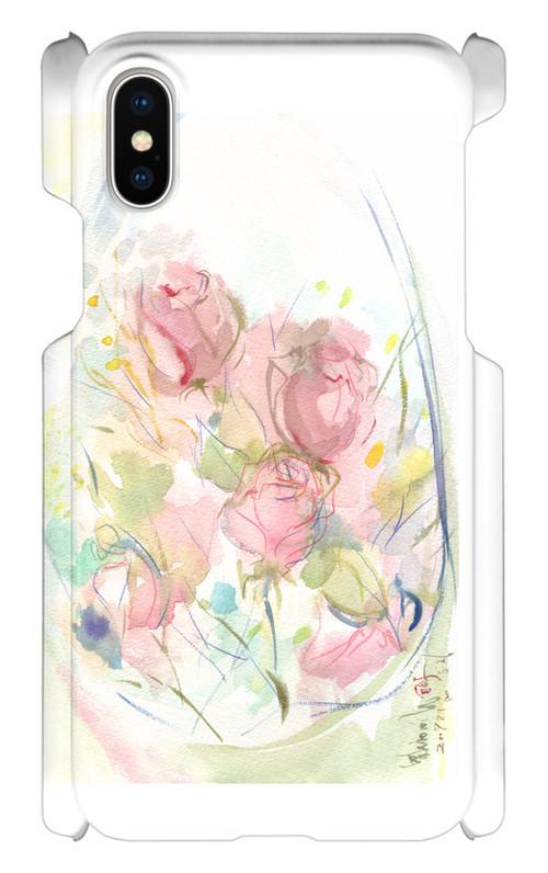 iPhone Xケース*Bouquet(ブーケ)*薔薇の水彩画