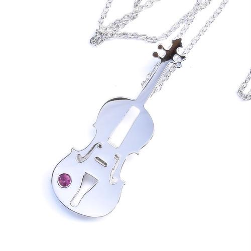 SILVER925 バイオリン BIGシルエットネックレス(プラチナコーティング)