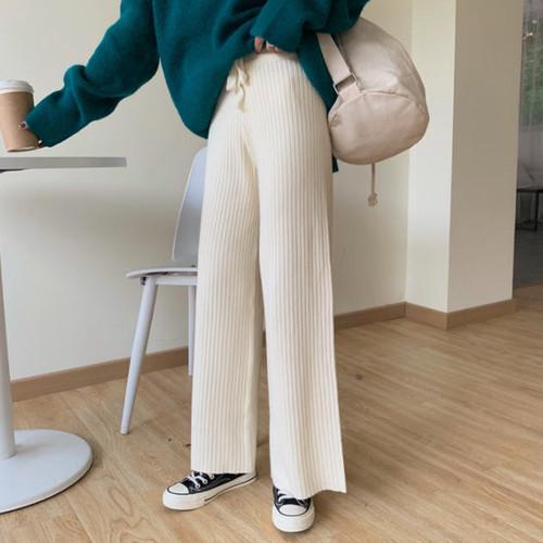 3色 リブニットパンツ ハイウエスト カジュアル シンプル 大人可愛い 韓国 オルチャン ファッション