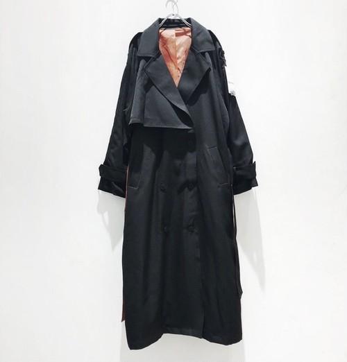 ラスト2枚。keisukeyoneda  drop over trench coat+Embroidery belt   black  付嘱ベルト付