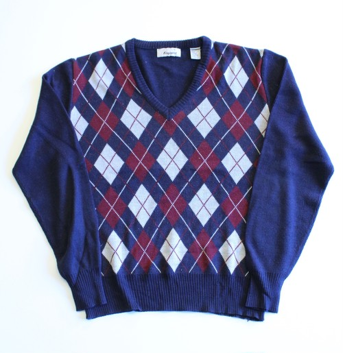 1970's Vintage Argyle V-neck sweater