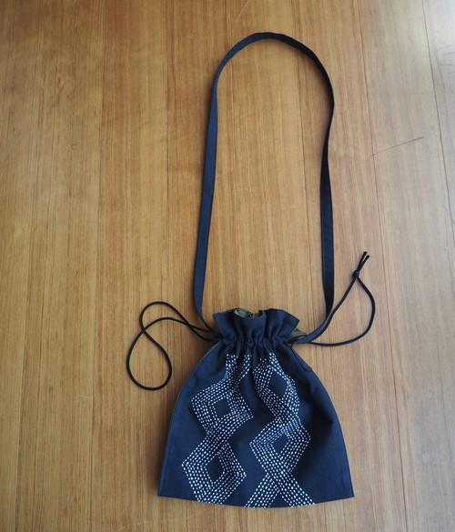 刺し子の巾着サコッシュ(白 菱つなぎ)