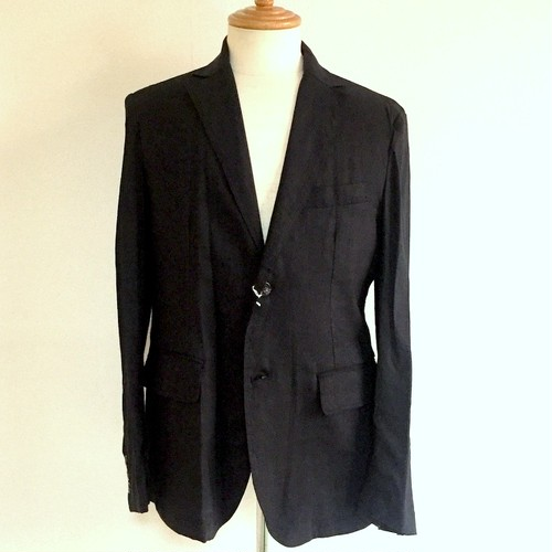 Stretch Linen Tailored Jacket Black