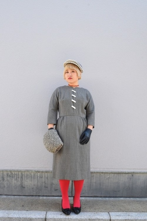 VINTAGE top motif Gray medium sleeve dress