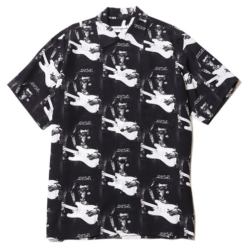 ALLOVER PATTERN OPEN COLLAR SHIRT - JIMI (BLACK) /  RUDE GALLERY