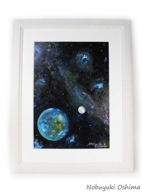 オリジナル絵画(アクリル画)「Earth(2020)」原画 額装品【手描き/宇宙・地球(アース)・月(ムーン)・星雲・星・美術品・アート・インテリア】