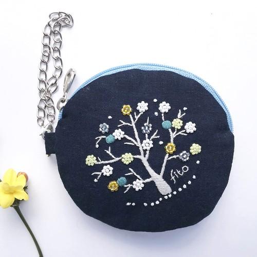 手刺繍  ICカードポーチ 「プチプチ花の木」