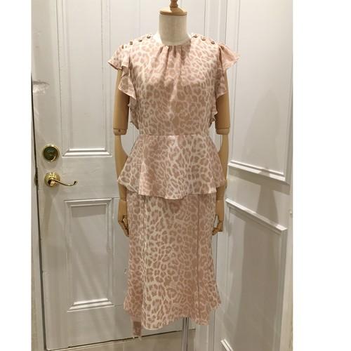 VB-082(leopard frill sleeve blouse)