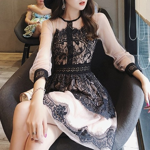lace pink dress 2color