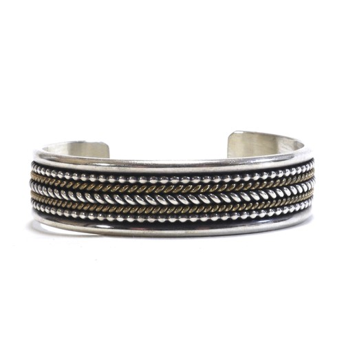 Navajo Vintage Sterling Silver & 12k Gold Twisted Wire Bangle by Daniel Mike