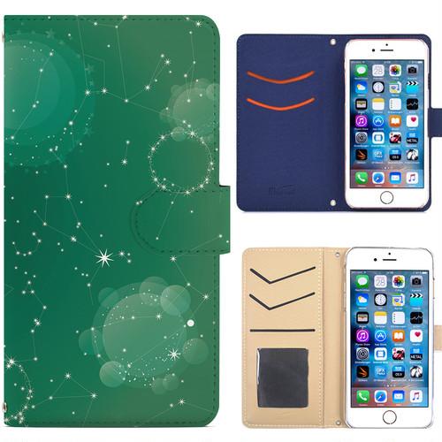 Jenny Desse Galaxy S6 Edge SC-04G ケース 手帳型 カバー スタンド機能 カードホルダー グリーン(ブルーバック)