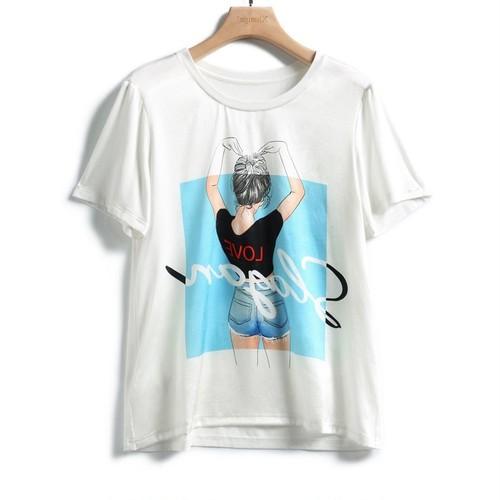【tops】合わせやすいカジュアル大好評プリント質感のいい シンプルTシャツ