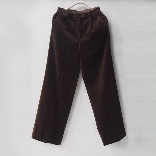 AURALEE WASHED CORDUROY WIDE SLACKS DARK BROWN