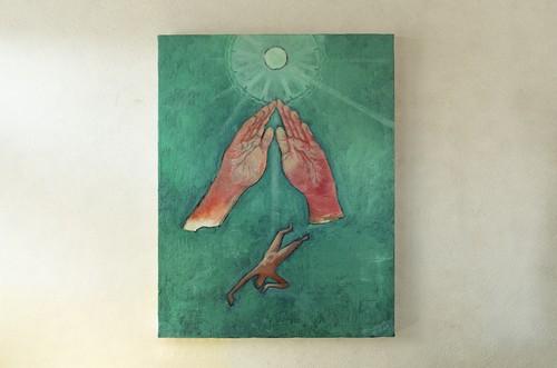 【油彩画】「望月の宵の宴 No.4」F6size 油絵、絵画、美術