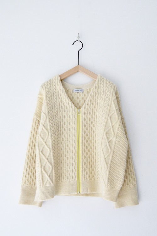 RE STOCK【ORDINARY FITS】CABLE KNIT ZIP CARDIGAN/OF-N014